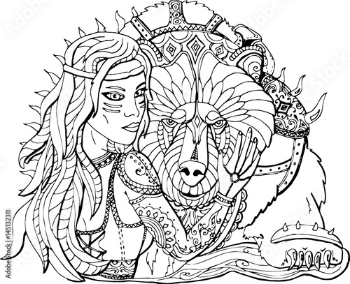 раскраска для взрослых девушка воин и боевой медведь
