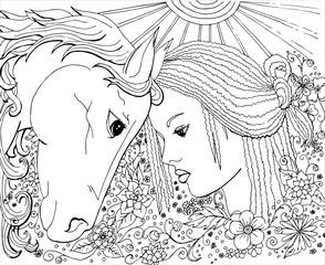 Раскраска для взрослых девушка и лошадь векторное изображение.