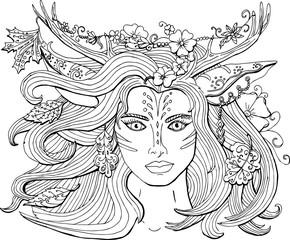 Векторное изображение красивая мистическое лесное существо девушка с оленьими рогами. Раскраска для взрослых.