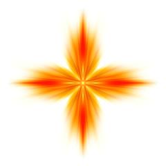 Croce greca di fiamme su sfondo bianco
