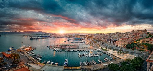 Cagliari, Italy 20/04/2017; Panoramic view of Cagliari at sunset on the harbor Wall mural