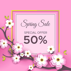 The spring sale. The banner with paper flowers, Sakura branch on a pink background. Vector illustration for advertising companies, magazines ,posters, websites.
