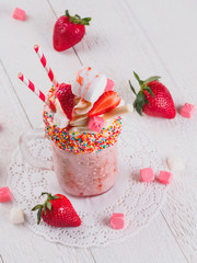 Pink strawberry freakshake