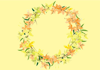 flowers circle bouquet on white background,vector illustration