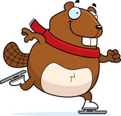 Cartoon Beaver Ice Skating