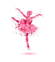 Ballerina of pink rose petals