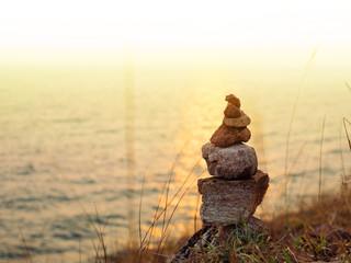 Zen stones, Sea and sunset background