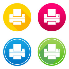Printer flat icon in 4 different colors and versions, with or without long shadows.