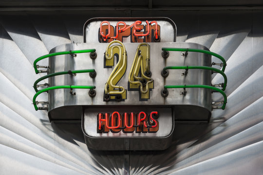 Open 24 hours neon retro diner sign