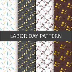 Happy Labor Day Pattern background set
