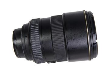 Black zoom camera lens isolated on white