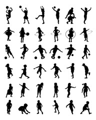 Black silhouettes of children playingon a white background