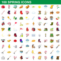 100 spring icons set, cartoon style
