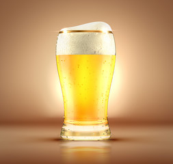 A glass of beer. 3d image, 3d rendering.