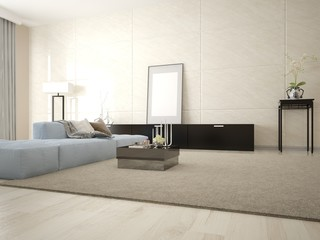 Mock up in a spacious living room with a comfortable corner sofa on the original background.