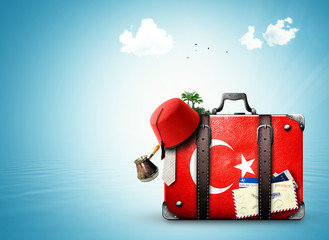 Autocollant pour porte Turquie Turkey, vintage suitcase with Turkish flag