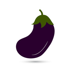 Icon of aubergine on white background. Vector illustration