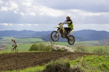 Motorcyclist riding off road. Slovakia