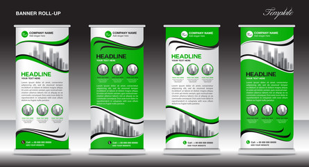Green Roll Up Banner template vector illustration,polygon background ,standy design , display,advertisement, pull up