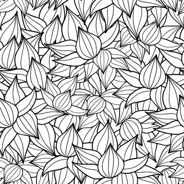 Vector black drawing succulent plant texture drawing seamless pattern background. Great for subtle, botanical, modern backgrounds, fabric, scrapbooking, packaging, invitations.