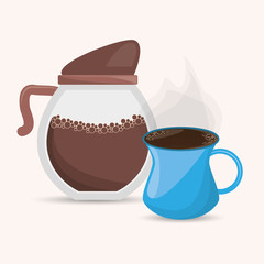 coffee maker and cup delicious design vector illustration eps 10