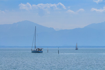 boats on lake chiemsee in early spring