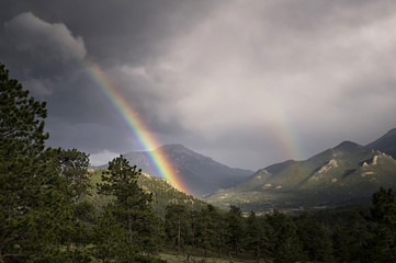 Rainbow after mountain thunderstorm in Colorado
