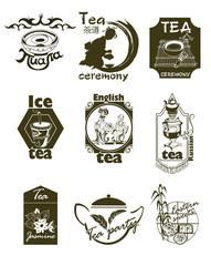 Hand Drawn Tea Logotypes Set