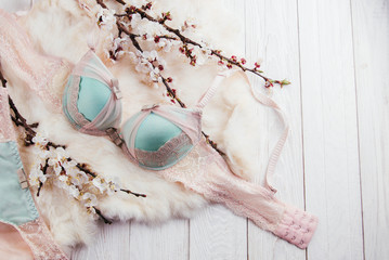 Set of female underwear with apricot blossom