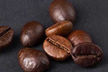 Coffee beans on a dark background