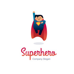 Superhero logo concept. Fat character flying. Flat style.