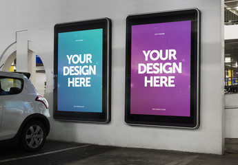 Parking Garage Digital Billboards Mockup