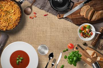 kitchen scene, top view.