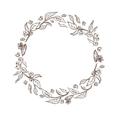 vector sketch vintage illustration. Hand drawn round frame of the tea leaves and flowers.