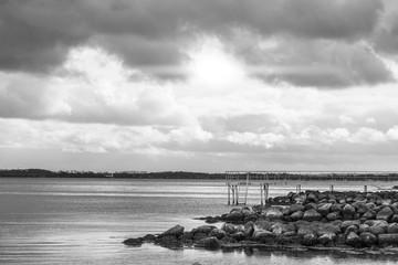Sea landscape in black and white