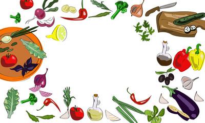 Organic vegetables set of hand drawn vegetables. Vector illustration.