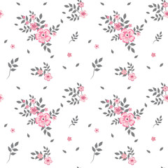 A drawing in a small pink flower with gray leaves on a white background. Colorful seamless background for textiles, fabric, cotton fabric, covers, wallpapers, print, gift wrapping and scrapbooking.