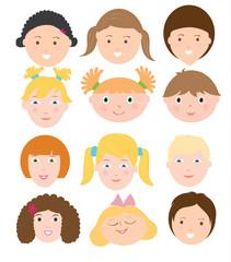 Floral vector illustration set of children faces. Flat vector children faces set. Faces of girls and boys. Set for designer.