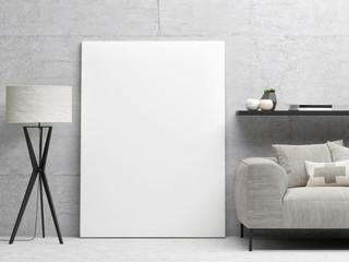 White close up poster, hipster background, 3d illustration