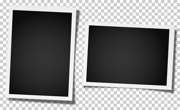 Set of two retro realistic vector photo frames, vertical and horizontal, placed on transparent background. Template photo design.