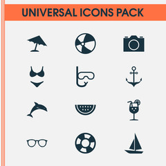 Season Icons Set. Collection Of Tube, Melon, Goggles And Other Elements. Also Includes Symbols Such As Photo, Lifebuoy, Beach.