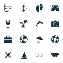 Hot Icons Set. Collection Of Trees, Ship, Parasol And Other Elements. Also Includes Symbols Such As Sunshades, Goggles, Palms.
