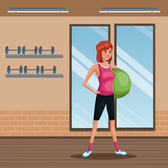 woman sports training fitball gym workout vector illustration eps 10