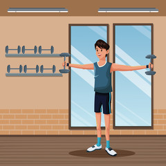 man sports barbell training gym workout vector illustration eps 10