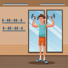 man sports weight training gym workout vector illustration eps 10