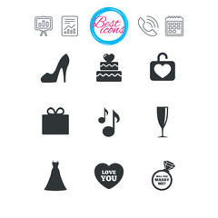Wedding, engagement icons. Cake, gift box.