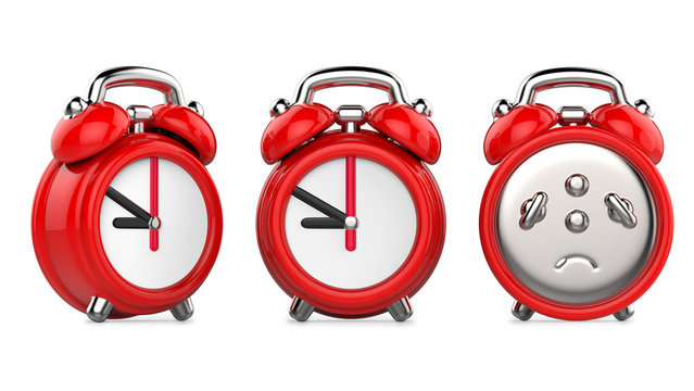 Three views of cartoon red alarm clock. 3d Illustration, isolated on white background.