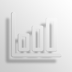 bar chart 3D Paper Icon Symbol Business Concept