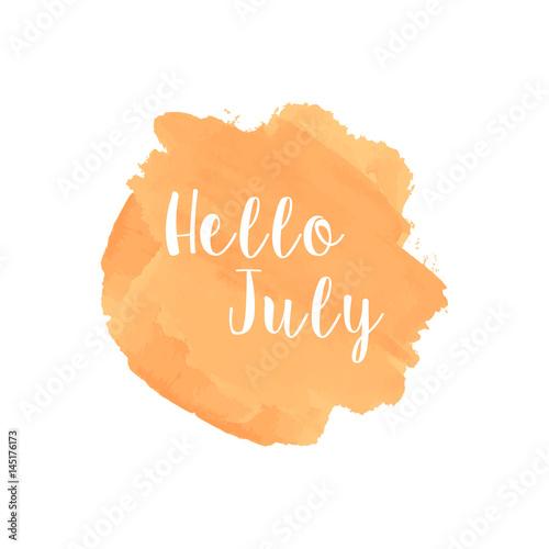 Hello July Watercolor Wallpaper Greeting Card Banner