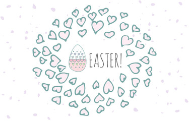 Hand drawn doodle Easter egg icon with funny decoration frame, vector illustration Spring bunny symbols collection Cartoon decoration element: egg, rabbit, basket, bunny  hunt, hearts, boarders